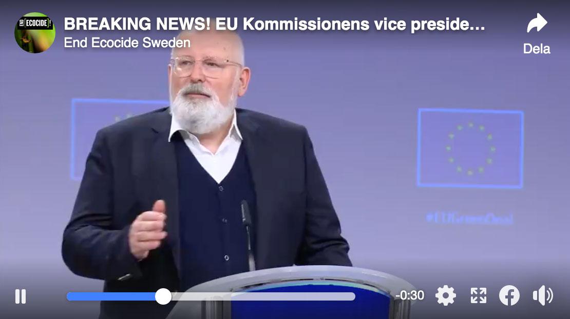 EU-kommissionens vice ordf: Krismedvetenhet om ekocid